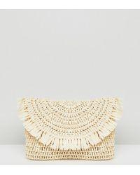 South Beach Frayed Straw Clutch Bag - Natural