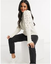 ASOS Jumper With Pointelle Sleeves And Neck Detail - Natural