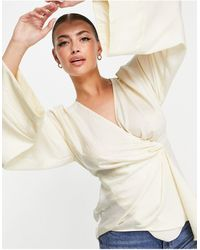 ASOS Satin Twist Front Blouse With Flared Sleeve - White