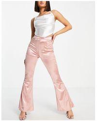 Club L London Satin Flared Trousers - Pink