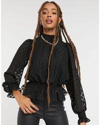 New Look Черная Блузка Со Сборками, Узором В Виде Ромбов И Блестками -черный