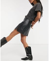 TOPSHOP Seam Detail Faux Leather Mini Skirt - Black