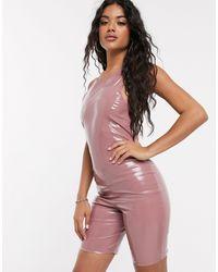 ASOS High Neck Short Unitard - Pink