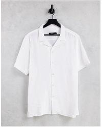 Bolongaro Trevor Crepe Slim Fit Revere Collar Short Sleeve Shirt - White