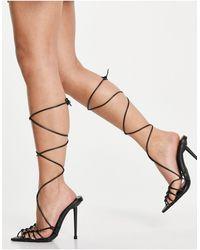 SIMMI Shoes Simmi London Felicia Caged Heeled Sandals - Black