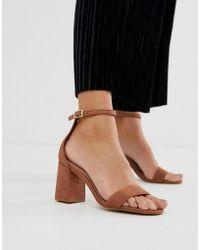 763e061e233b ALDO - Eteisa Suede Block Heeled Sandals In Brown - Lyst