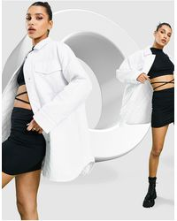 ASOS Nylon Tech Shacket With Quilted Lining - White
