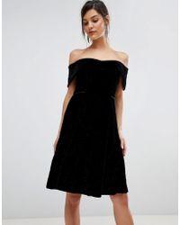 Coast - Emilia Velvet Bardot Dress - Lyst