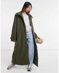Weekday Пальто Цвета Хаки Из Переработанной Шерсти С Поясом Ricky-зеленый Цвет