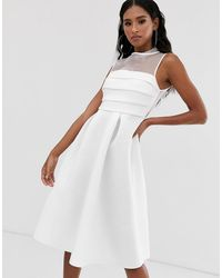 ASOS Organza Panel Prom Midi Dress - White