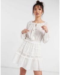 River Island Белое Платье С Присборенной Юбкой И Кружевными Вставками На Рукавах -белый