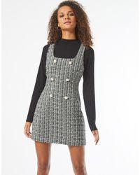 Miss Selfridge Boucle Pinny Dress - Black