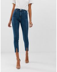 ASOS Ridley - Skinny Jeans Met Hoge Taille, Naad Over - Blauw