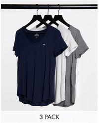 Hollister V-neck T-shirt 3-pack - Blue