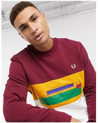 Fred Perry Faded Emboss Colourblock Sweat - Red
