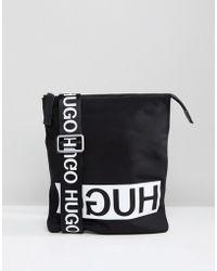 HUGO | Reverse Logo Nylon Flight Bag In Black | Lyst