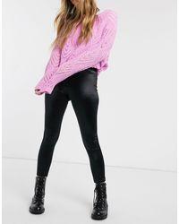 Miss Selfridge Satin leggings - Black