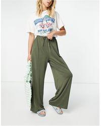 ASOS Satin Wide Leg Trouser With Tie Waist - Green