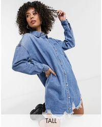 Missguided - Голубое Джинсовое Платье-рубашка В Стиле Oversized -голубой - Lyst