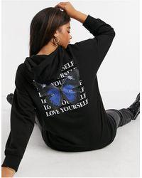 New Look Butterfly Print Longline Oversized Hoodie - Black