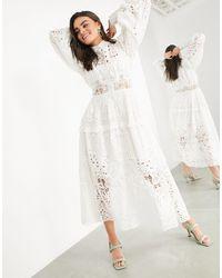 ASOS - Vestido camisero blanco bordado - Lyst
