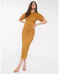 Closet Vestido midi plisado color mostaza - Amarillo