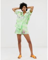 & Other Stories Tie Dye High Waisted Shorts - Green