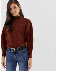 306247718da3a ASOS - Chunky Jumper With Stitch Detail And Balloon Sleeve - Lyst
