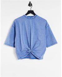 Chelsea Peers T-shirt confort avec nœud sur le devant - délavé - Bleu