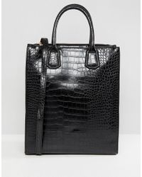 ASOS - Double Zip Compartment Tote Croc With Laptop Compartment - Lyst