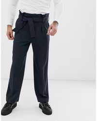 ASOS Wide Leg Smart Trousers With Multi Pleat Detail In Navy - Blue