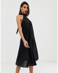 ASOS Backless Halter Pleated Midi Dress - Black