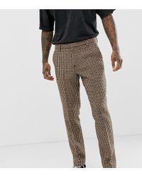 Heart & Dagger Slim Suit Trouser In Charcoal Harris Tweed - Gray