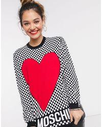 Love Moschino - Красный Джемпер С Принтом В Виде Сердца И Шахматным Узором - Lyst