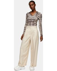 TOPSHOP Marl Wide Leg Trousers - Natural