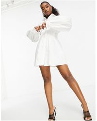 Missguided Shirt Dress With Cinched Waist - White