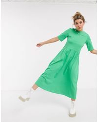 Monki Agnete Jersey Trapeze Midi Dress - Green