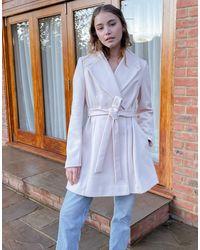 Miss Selfridge Светло-розовое Расклешенное Пальто -розовый - Синий