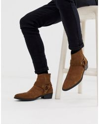ASOS Cuban Heel Western Chelsea Boots In Tan Suede With Buckle Detail - Brown