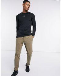 Calvin Klein Черный Базовый Лонгслив С Логотипом