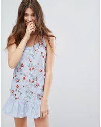 Bershka   Embroidered And Stripe Cami Dress   Lyst