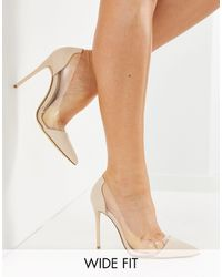 Truffle Collection Wide Fit Clear Stiletto Heeled Shoes - Natural