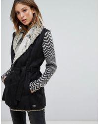 Bellfield - Garda Wool Blend Faux Fur Lined Suedette Gilet - Lyst