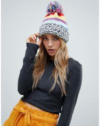 Pull&Bear Multi Stripe Knitted Bobble Hat With Pom Pom - Red