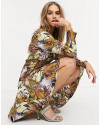 Y.A.S Vestito midi con scollo squadrato e corpetto arricciato con stampa a fiori - Multicolore