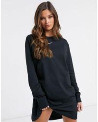 Nike Черное Платье-футболка С Длинным Рукавом И Логотипом В Виде Галочки-черный