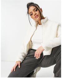NA-KD Кремовая Плюшевая Короткая Куртка На Молнии -белый