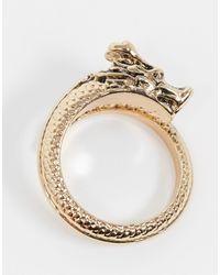 River Island Topman - Anello oro con drago avvolgente - Metallizzato