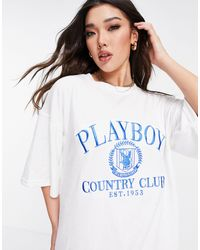 Missguided Playboy Sports Towelling T-shirt Dress - White