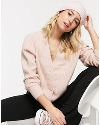 New Look Ribbed Button Down Cardigan - Pink